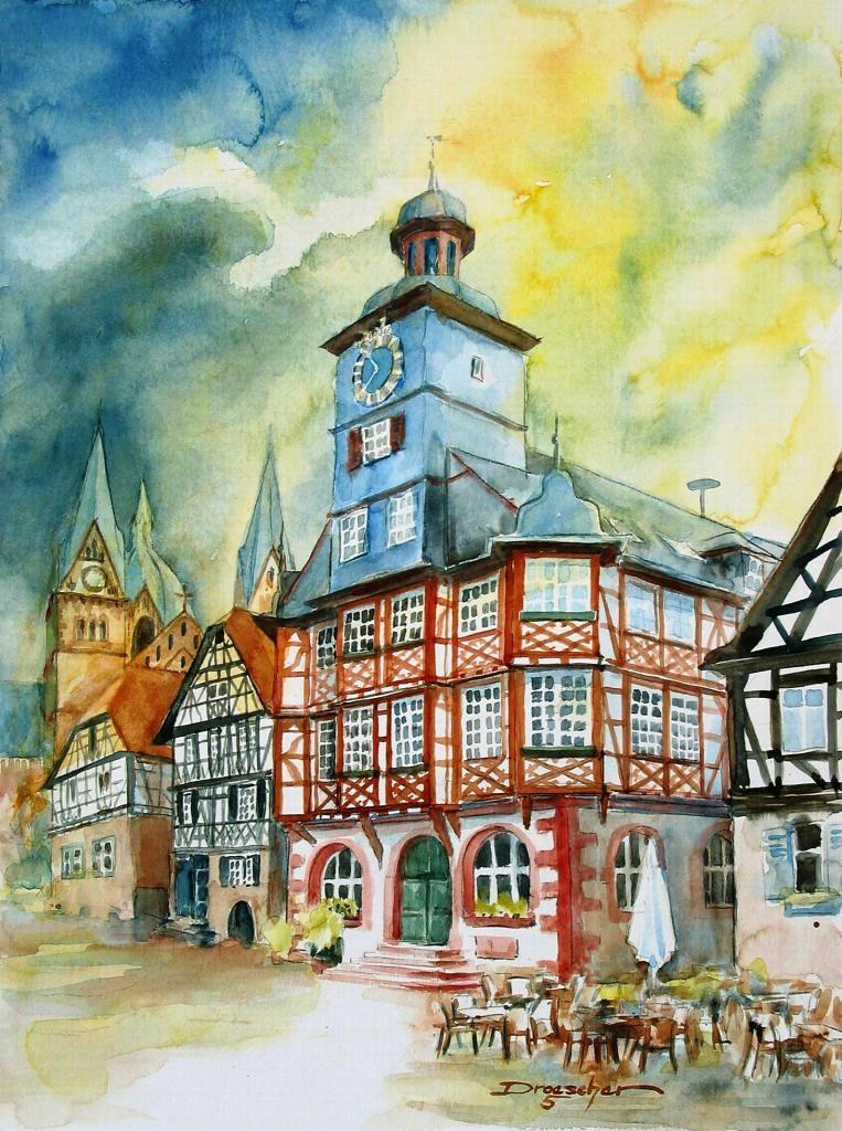 Heppenheim, Rathaus mit Domblick I, 2005, 36x48.jpg